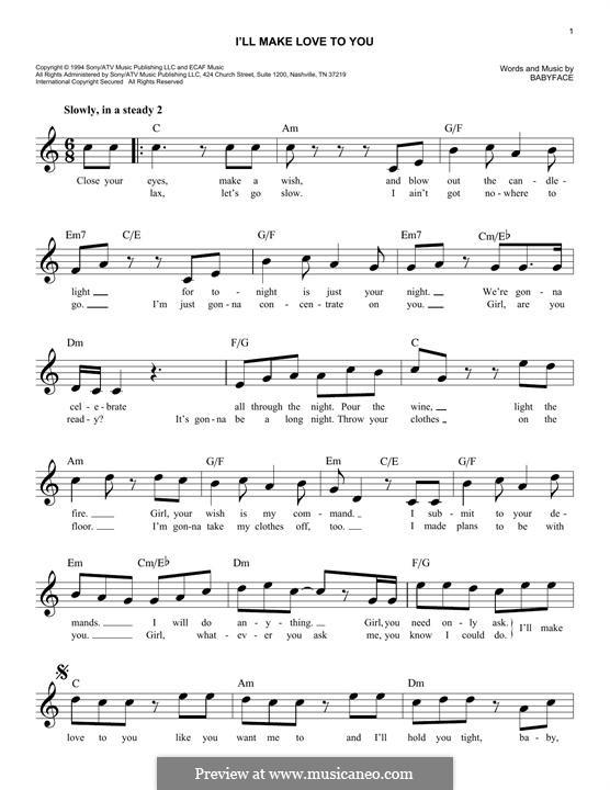I'll Make Love to Yous (Boyz II Men): Текст, аккорды by Kenneth 'Babyface' Edmonds