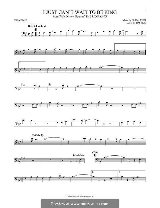 I Just Can't Wait To Be King (from The Lion King): For trombone by Elton John