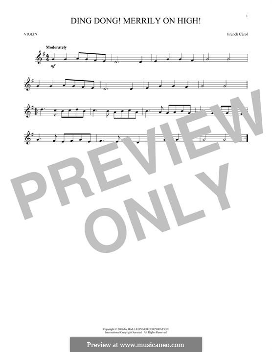 Ding Dong! Merrily on High (Printable Scores): Для скрипки by folklore
