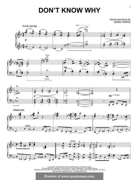 Don't Know Why (Norah Jones): Для фортепиано by Jesse Harris