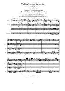 La stravaganza. Twelve Violin Concertos, Op.4: Violin Concerto No.4 in A Minor. Version for string quartet, RV 357 by Антонио Вивальди