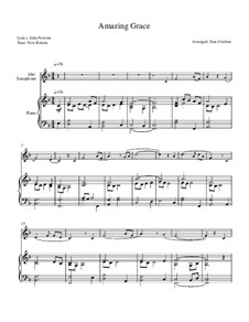 О, благодать: Theme and Variations, for alto sax solo and piano by folklore