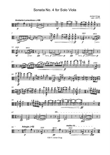 Sonata No.4 for Solo Viola: Sonata No.4 for Solo Viola by Jordan Grigg