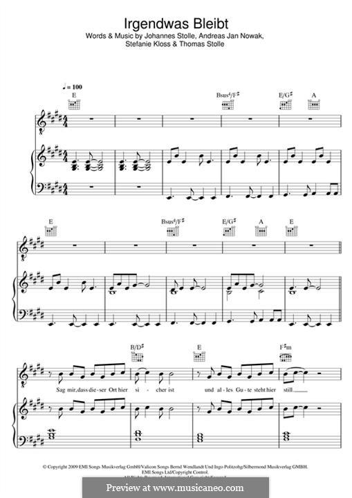 Irgendwas Bleibt (Silbermond): Для голоса и фортепиано (или гитары) by Johannes Stolle, Thomas Stolle, Andreas Jan Nowak, Stefanie Kloss