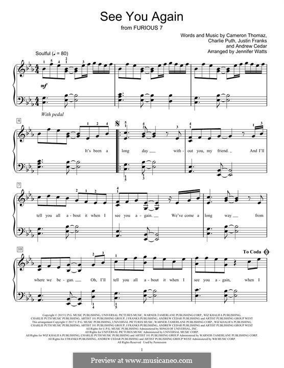 See You Again (Wiz Khalifa feat. Charlie Puth): Для фортепиано by Justin Franks, Wiz Khalifa, Andrew Cedar, Charlie Puth