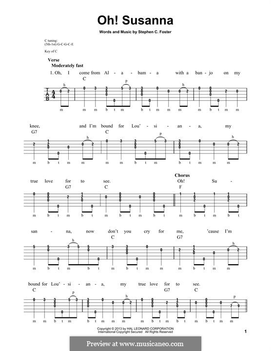 О, Сюзанна: For banjo by Стефен Фостер