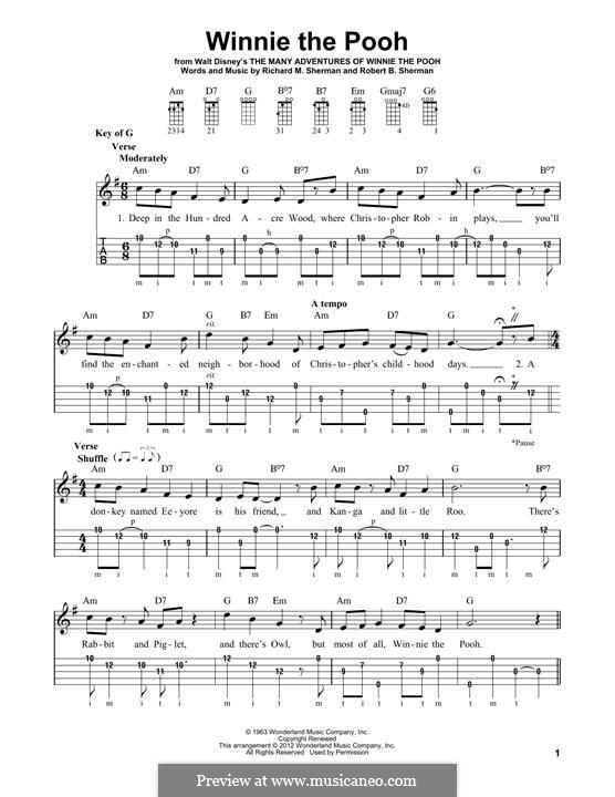Winnie the Pooh: For banjo by Richard M. Sherman, Robert B. Sherman