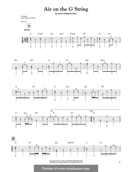 Aria (Printable Scores): Version for banjo by Иоганн Себастьян Бах