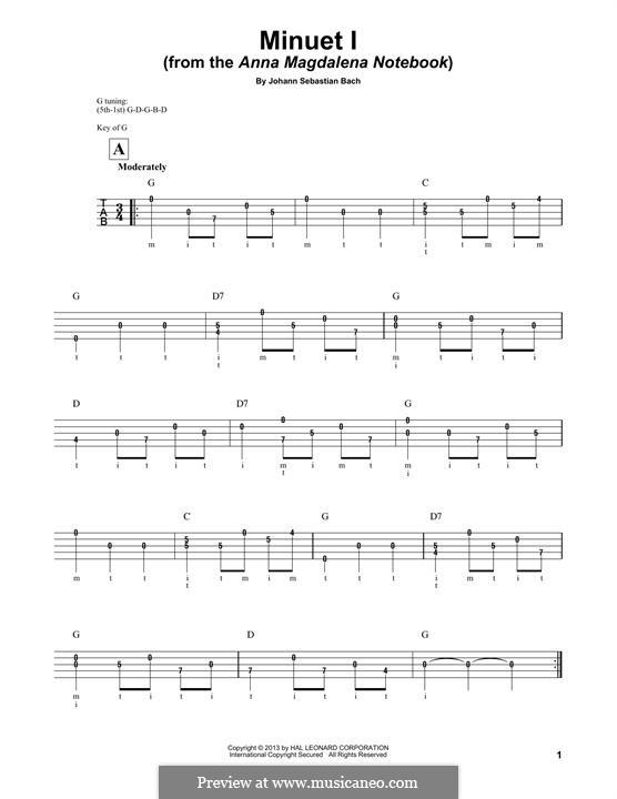 No.4 Менуэт соль мажор, BWV Anh.114: For banjo by Иоганн Себастьян Бах