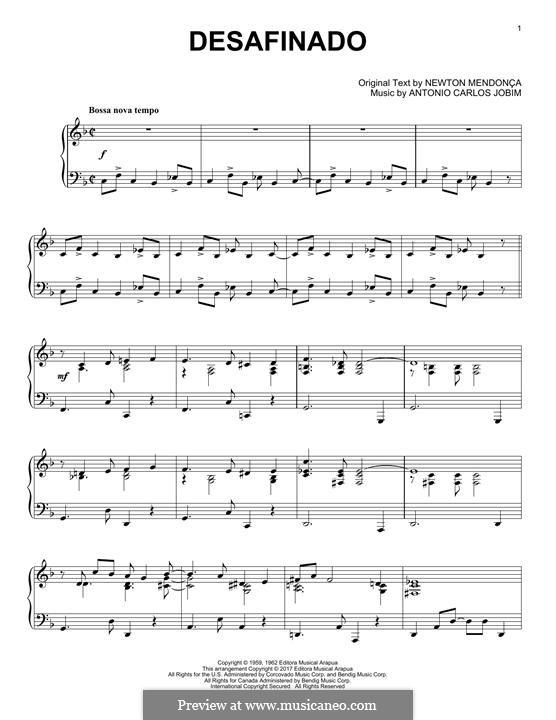 Desafinado (Slightly Out of Tune): Для фортепиано by Antonio Carlos Jobim