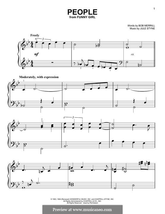 People from Funny Girl (Barbra Streisand): Для фортепиано by Jule Styne