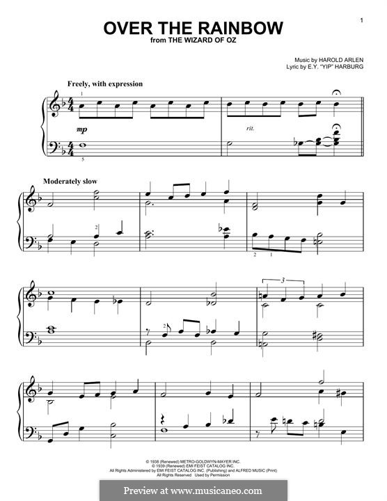Over the Rainbow (from The Wizard of Oz): Для фортепиано by Harold Arlen