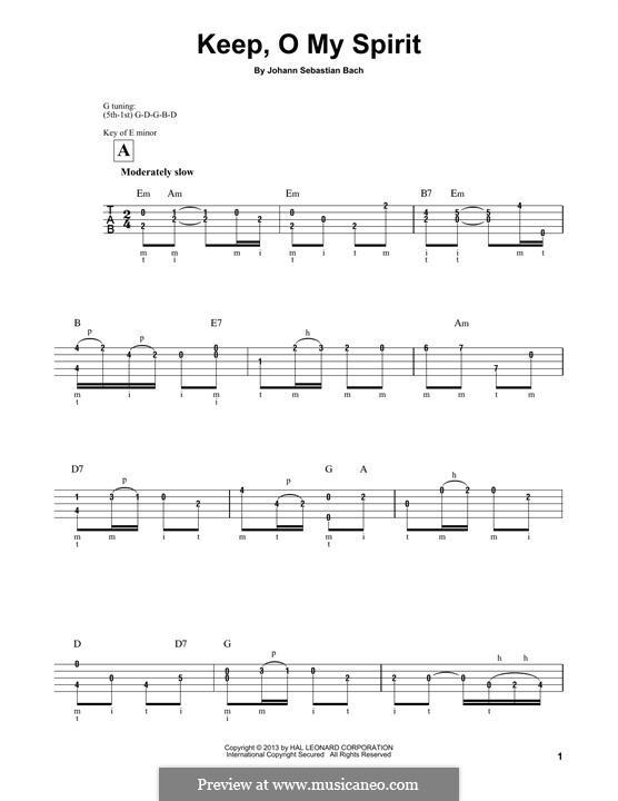 Рождественская оратория, BWV 248: Keep, o My Spirit, for banjo by Иоганн Себастьян Бах