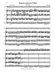 Concerto for Fagotto and Strings in F Major, RV 486: Score and parts by Антонио Вивальди