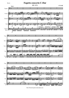 Concerto for Fagotto and Strings in C Major, RV 474: Score and all parts by Антонио Вивальди