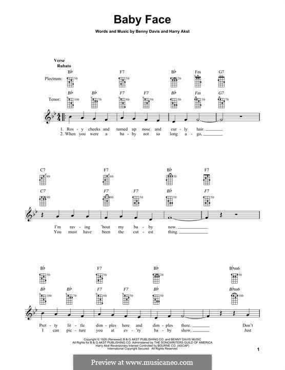Baby Face: For banjo by Benny Davis