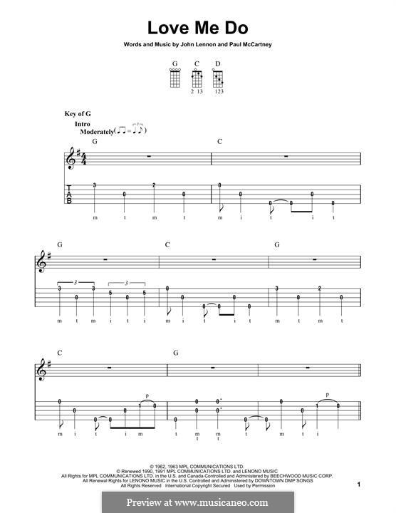 Love Me Do (The Beatles): For banjo by John Lennon, Paul McCartney