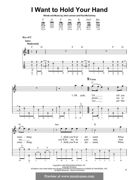 I Want to Hold Your Hand (The Beatles): For banjo by John Lennon, Paul McCartney