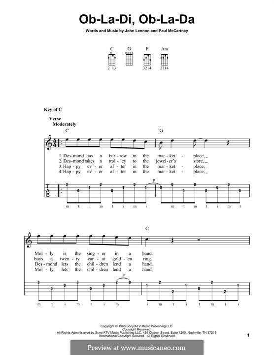 Ob-La-Di, Ob-La-Da (The Beatles): For banjo by John Lennon, Paul McCartney