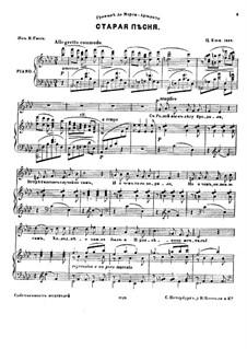 Шесть мелодий для голоса и фортепиано, Op.23: No.3 Старая песня by Цезарь Кюи