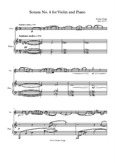 Sonata No.4 for Violin and Piano: Sonata No.4 for Violin and Piano by Jordan Grigg