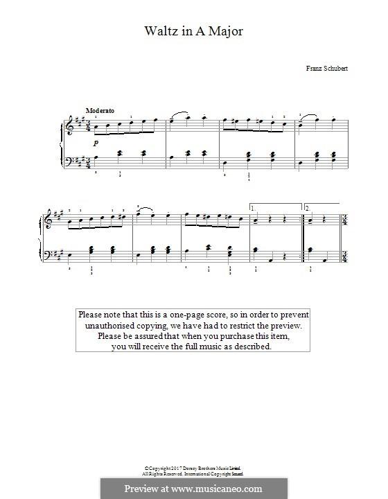 Waltz in A Major: Для фортепиано by Франц Шуберт