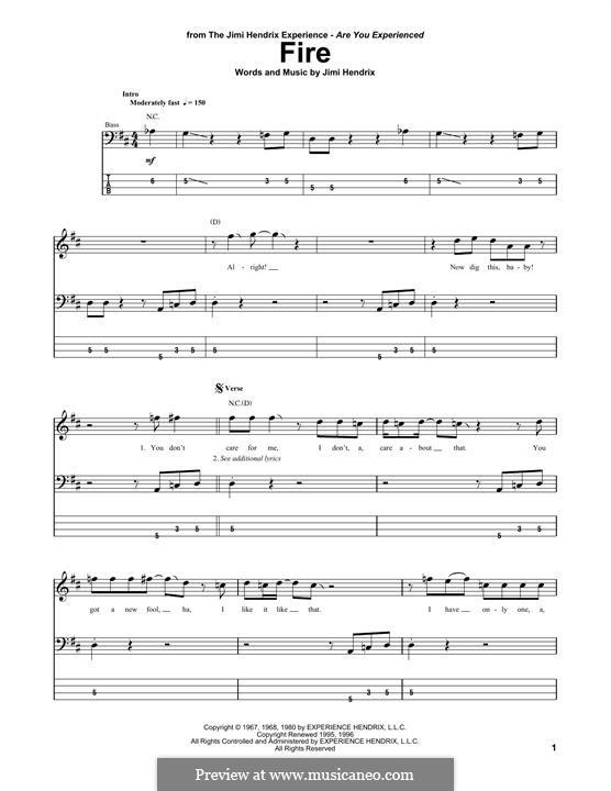 Fire: Для бас-гитары с табулатурой by Jimi Hendrix