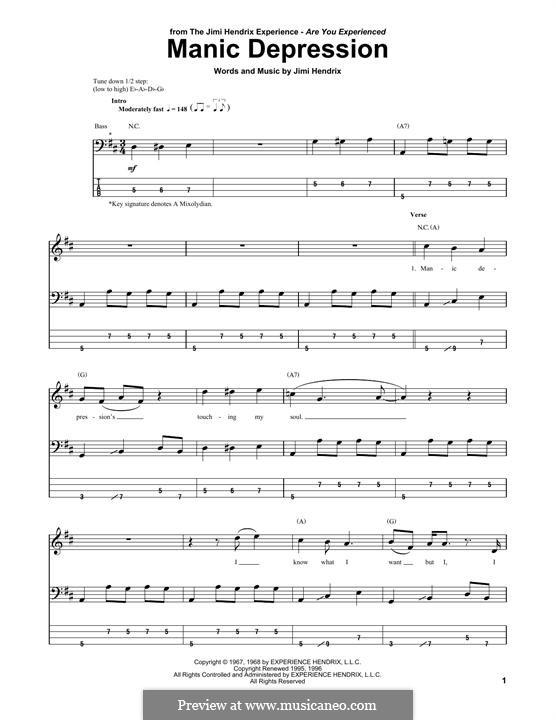 Manic Depression: Для бас-гитары с табулатурой by Jimi Hendrix
