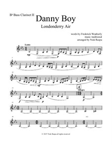 Danny Boy (Londonderry Air): For clarinet quintet - B flat bass clarinet II part by folklore