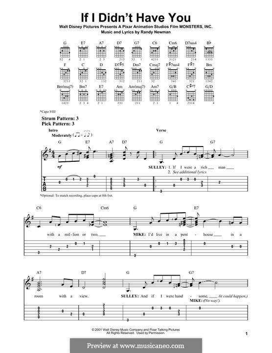 If I Didn't Have You (Billy Crystal and John Goodman): Гитарная табулатура by Randy Newman