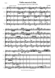 La stravaganza. Twelve Violin Concertos, Op.4: Violin Concerto No.12 in G Major 'La stravaganza' – score and parts, RV 298 by Антонио Вивальди