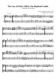 The Lass of Patie's Mill & The Highland Laddie: Für Alt-Blockflöte und Bass-Blockflöte by Francesco Barsanti