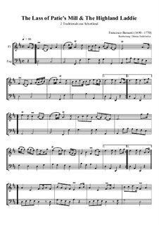 The Lass of Patie's Mill & The Highland Laddie: Für Flöte und Fagott by Francesco Barsanti