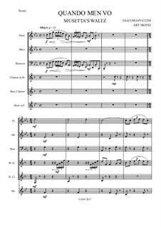 Quando men vo (Musetta's Waltz): For wind sextet by Джакомо Пуччини