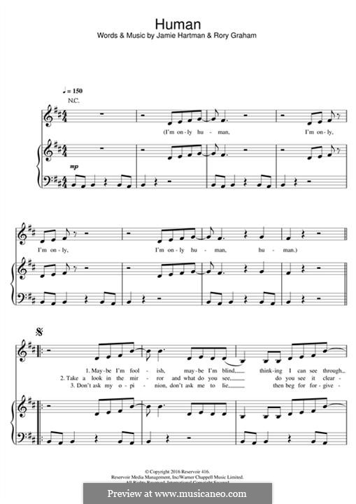 Human (Rag'n'Bone Man): Для голоса и фортепиано (или гитары) by Jamie Hartman, Rory Graham