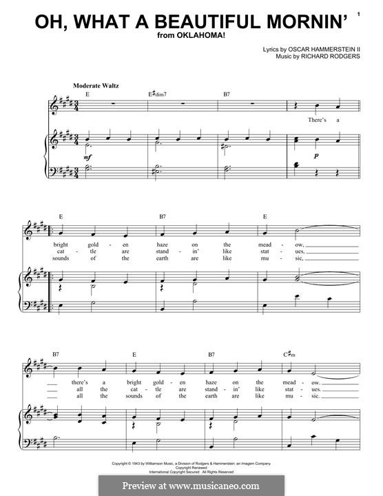 Oh, What a Beautiful Mornin' (from 'Oklahoma!'): Для голоса и фортепиано by Richard Rodgers