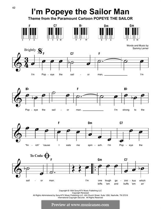 I'm Popeye the Sailor Man (from the Paramount Cartoon Popeye the Sailor): For any instrument by Sammy Lerner