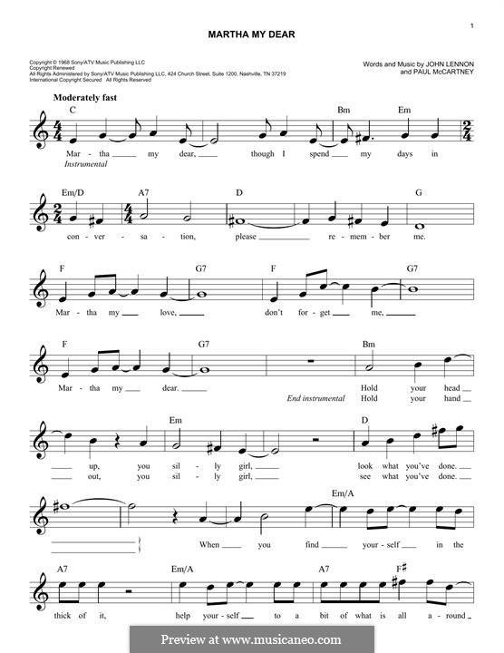 Martha My Dear (The Beatles): Мелодия by John Lennon, Paul McCartney