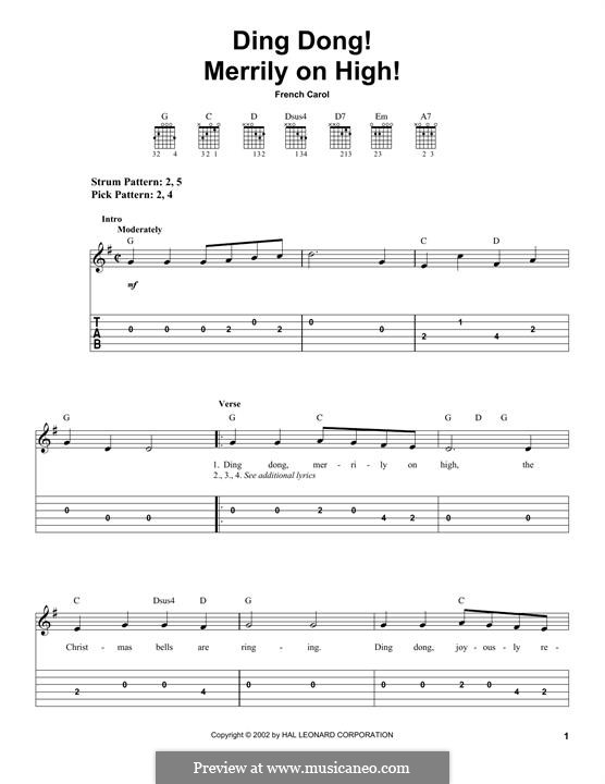 Ding Dong! Merrily on High (Printable Scores): Гитарная табулатура by folklore