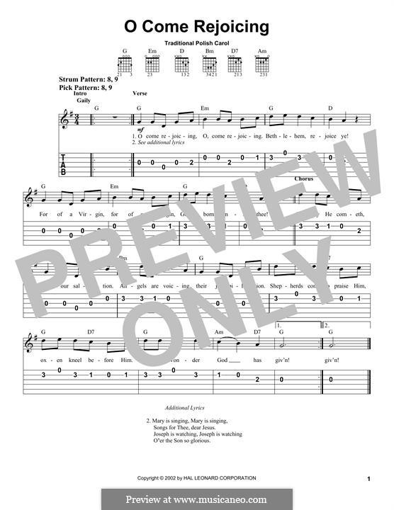 O Come Rejoicing: Гитарная табулатура by folklore