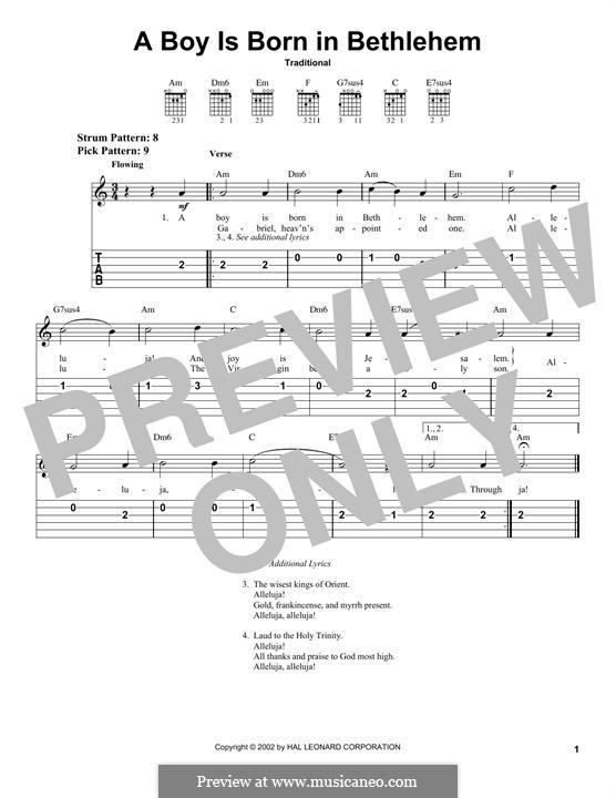 A Boy Is Born in Bethlehem: Гитарная табулатура by folklore