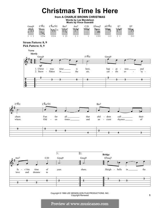 Christmas Time is Here: Гитарная табулатура by Vince Guaraldi