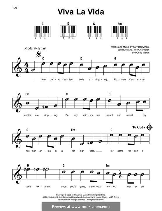 Instrumental version: For any instrument by Chris Martin, Guy Berryman, Jonny Buckland, Will Champion