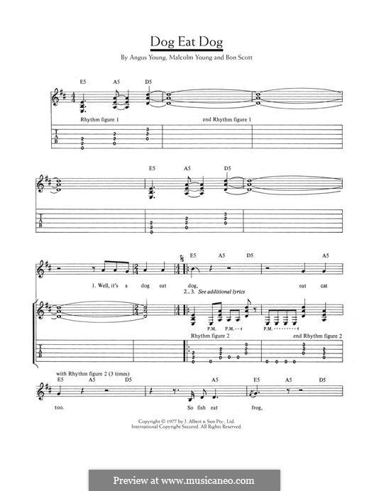 Dog Eat Dog (AC/DC): Гитарная табулатура by Angus Young, Bon Scott, Malcolm Young
