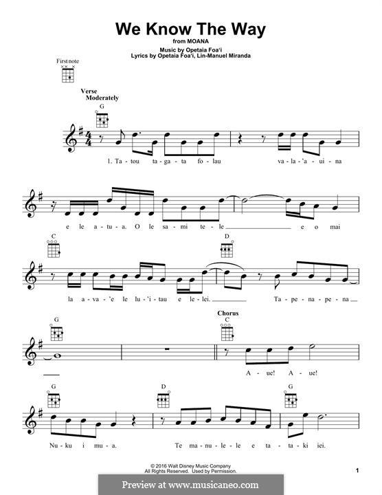 We Know the Way (from Moana): Для укулеле by Lin-Manuel Miranda, Mark Mancina, Opetaia Foa'i