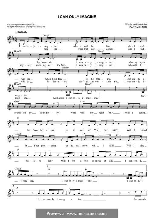 I Can Only Imagine (Mercy Me): Мелодия by Bart Millard