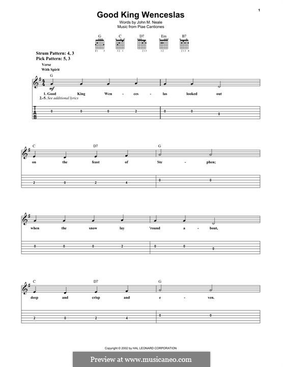 Good King Wenceslas: Гитарная табулатура by folklore