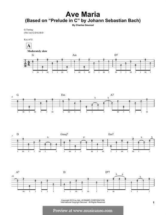 Ave Maria (Printable Sheet Music): For banjo by Иоганн Себастьян Бах, Шарль Гуно