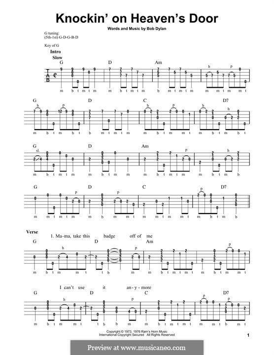 Knockin' on Heaven's Door: For banjo by Bob Dylan