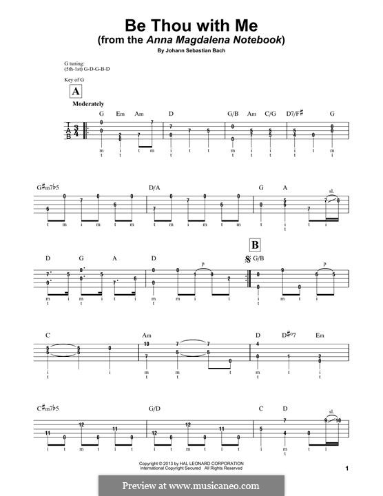No.25 Bist du bei mir (You Are with Me), Printable scores: For banjo by Иоганн Себастьян Бах